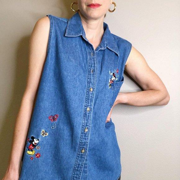 MICKEY MOUSE TANK top collared shirt Jean Denim 90/'S woman loose swing top  Small medium